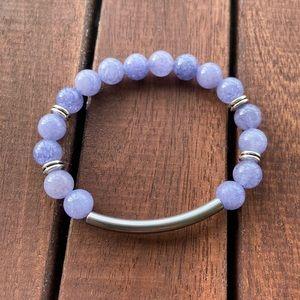 Angelite gems stainless steel bar bead bracelet